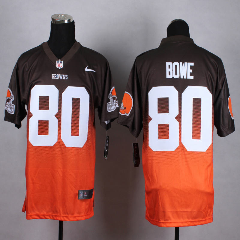 Nike Browns 80 Dwayne Bowe Brown And Orange Drift II Elite Jersey