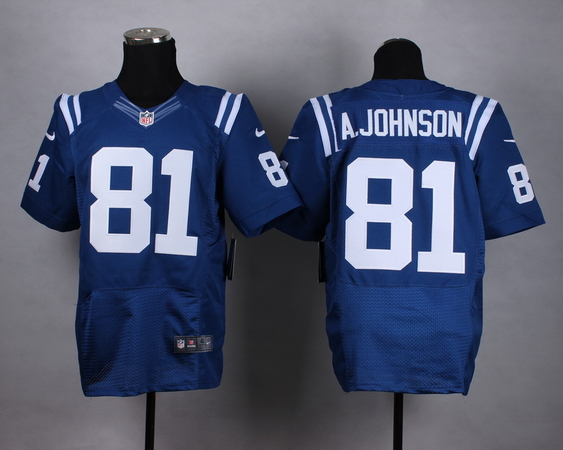 Nike Colts 81 A.Johnson Blue Elite Jersey