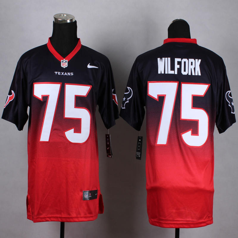 Nike Texans 75 Vince Wilfork Blue And Red Drift II Elite Jersey