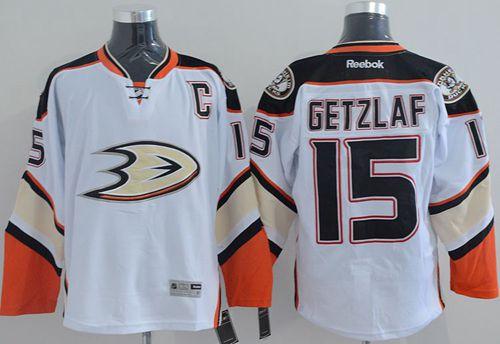 Ducks 15 Ryan Getzlaf White New Road Jerseys