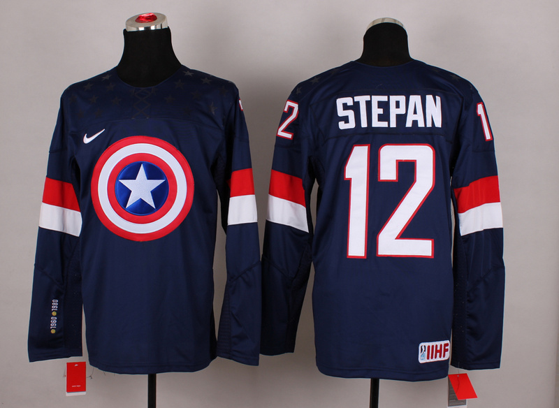 USA 12 Stepan Blue Captain America Jersey