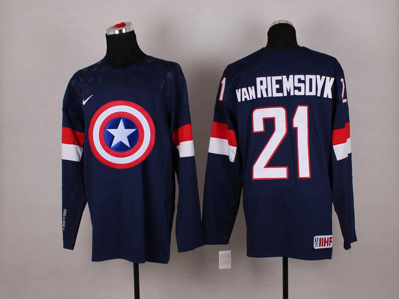 USA 21 van Riemsdyk Blue Captain America Jersey