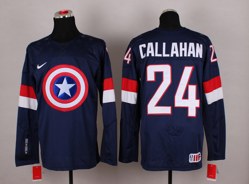 USA 24 Callahan Blue Captain America Jersey