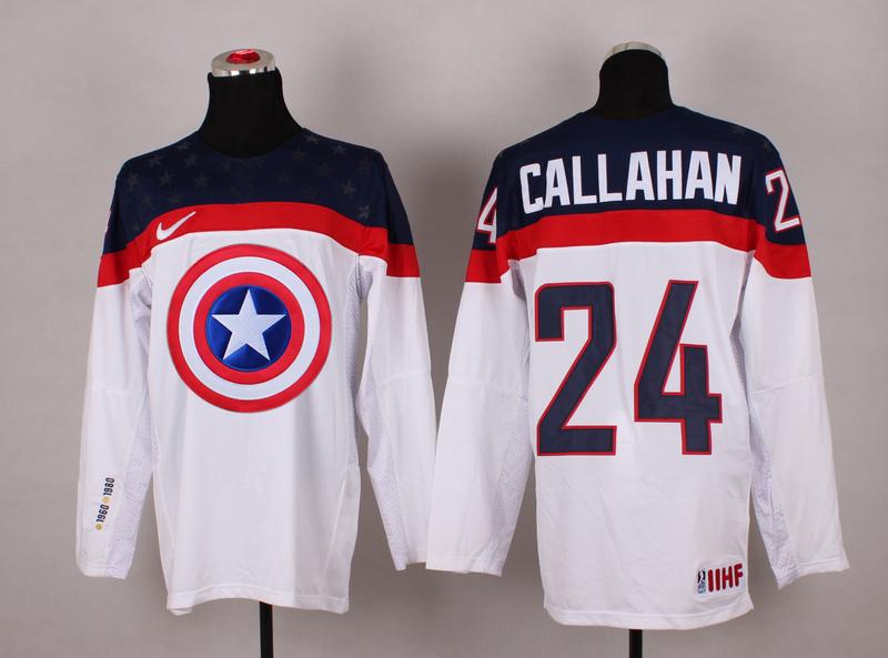 USA 24 Callahan White Captain America Jersey