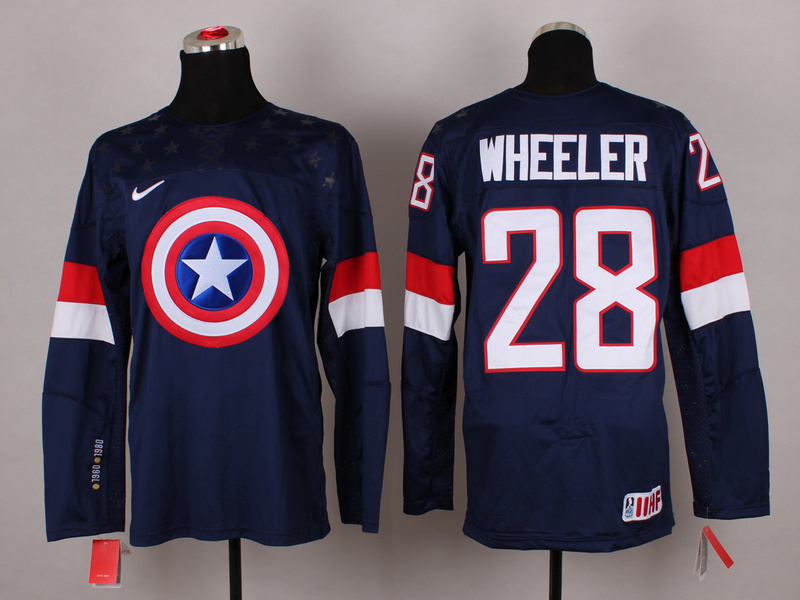 USA 28 Wheeler Blue Captain America Jersey