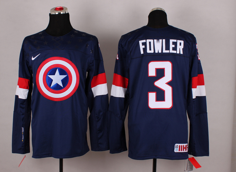 USA 3 Fowler Blue Captain America Jersey