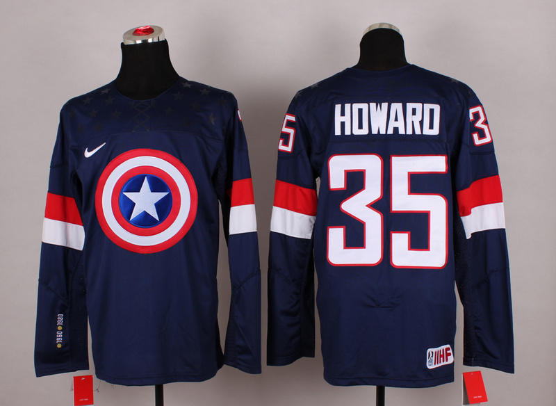 USA 35 Howard Blue Captain America Jersey