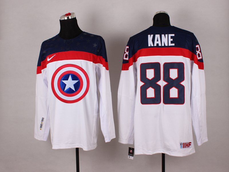 USA 88 Kane White Captain America Jersey