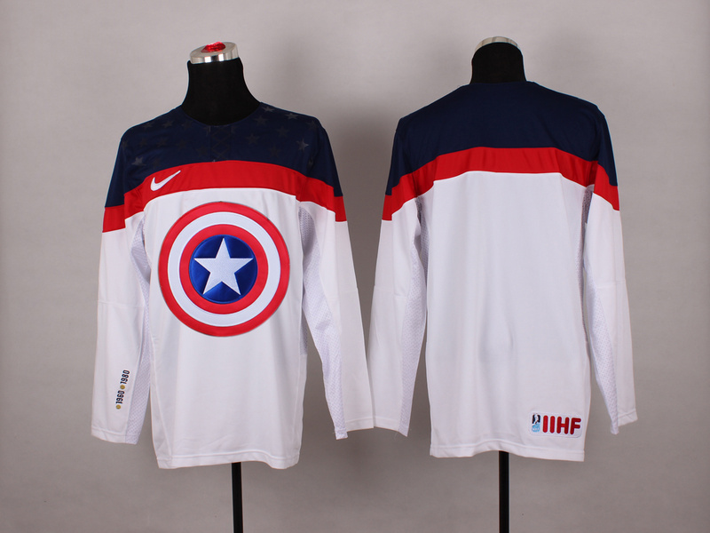 USA White Captain America Jersey