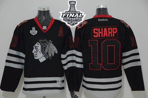 Blackhawks 10 Patrick Sharp Black Ice 2015 Stanley Cup Jersey