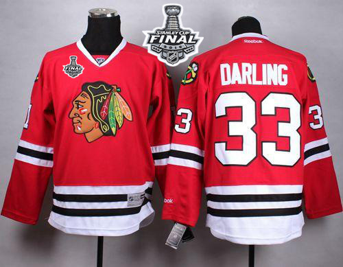 Blackhawks 33 Scott Darling Red 2015 Stanley Cup Jersey