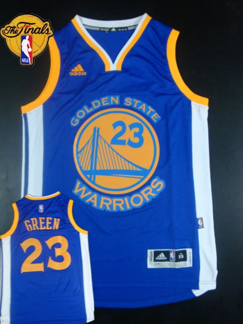 Warriors 23 Green Blue 2015 NBA Finals New Rev 30 Jersey