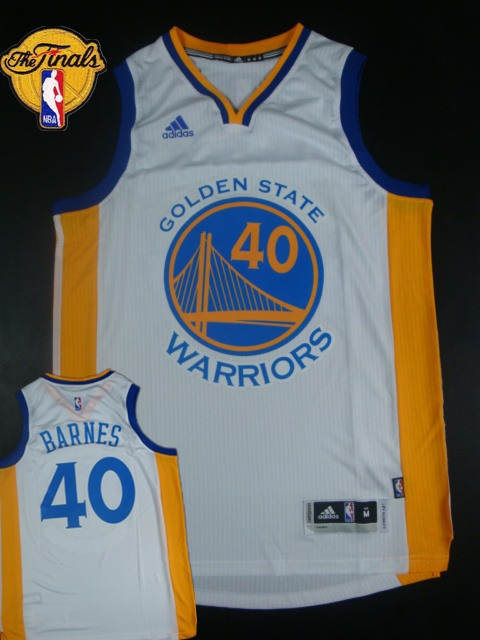 Warriors 40 Barnes White 2015 NBA Finals New Rev 30 Jersey