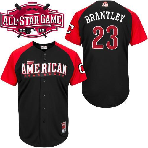 American League Indians 23 Brantley Black 2015 All Star Jersey