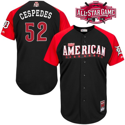 American League Tigers 52 Cespedes Black 2015 All Star Jersey