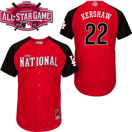 National League Dodgers 22 Kershaw Red 2015 All Star Jersey