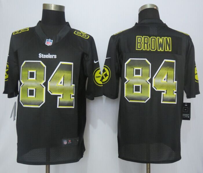 Nike Steelers 84 Antonio Brown Black Pro Line Fashion Strobe Jersey