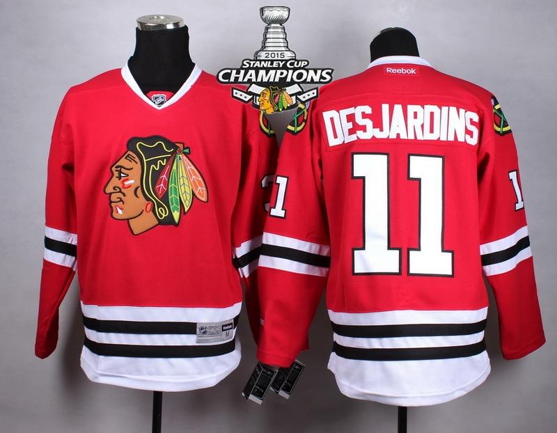 Blackhawks 11 Desjardins Red 2015 Stanley Cup Champions Jersey