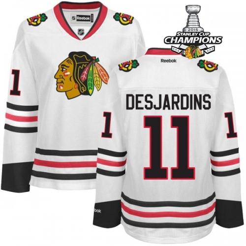 Blackhawks 11 Desjardins White 2015 Stanley Cup Champions Jersey
