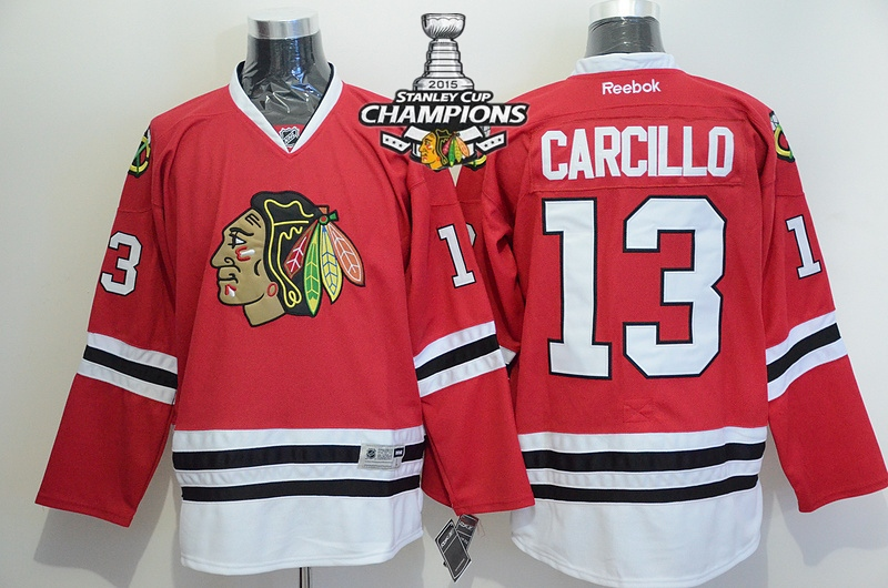 Blackhawks 13 Carcillo Red 2015 Stanley Cup Champions Jersey