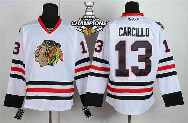 Blackhawks 13 Carcillo White 2015 Stanley Cup Champions Jersey