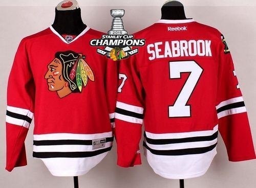 Blackhawks 7 Seabrook Red 2015 Stanley Cup Champions Jersey