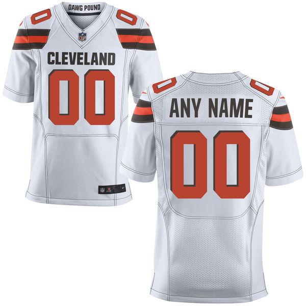 Nike Browns White Men's Customized Elite Jersey