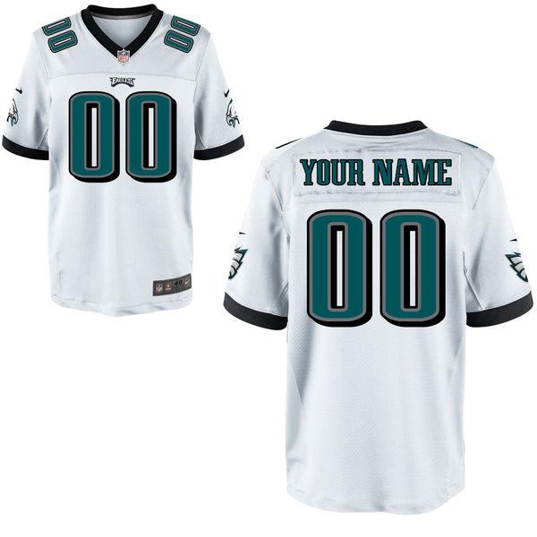Nike Eagles White Men Customized Elite Jersey