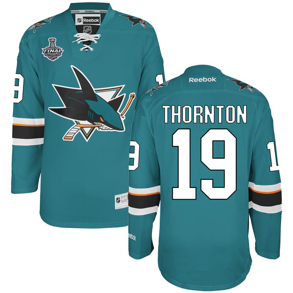 Sharks 19 Joe Thornton Teal 2016 Stanley Cup Final Bound Reebok Jersey