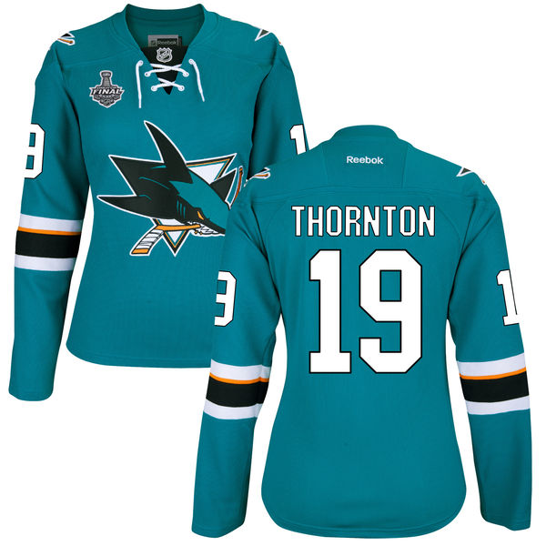 Sharks 19 Joe Thornton Teal Women 2016 Stanley Cup Final Bound Reebok Jersey