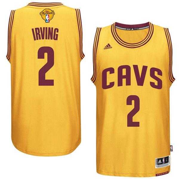 Cavaliers 2 Kyrie Irvin Gold 2017 NBA Finals Swingman Jersey