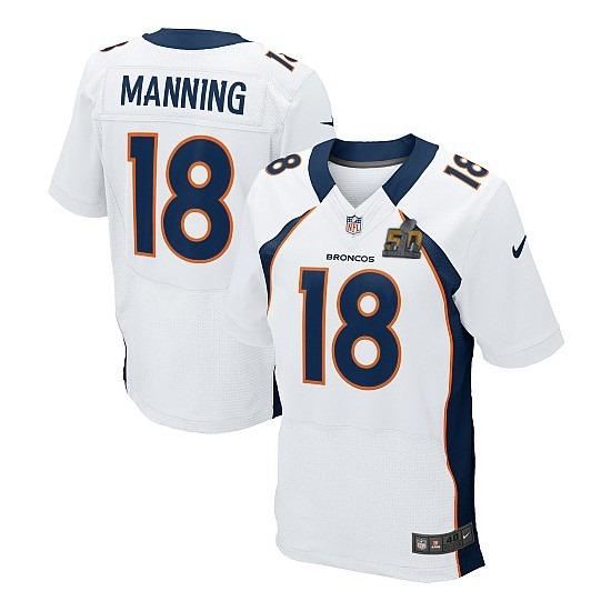 Nike Broncos 18 Peyton Manning White Super Bowl 50 Elite Jersey