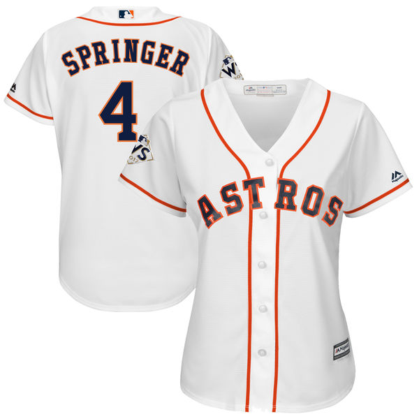 Astros 4 George Springer White Women 2017 World Series Bound Cool Base Player Jersey