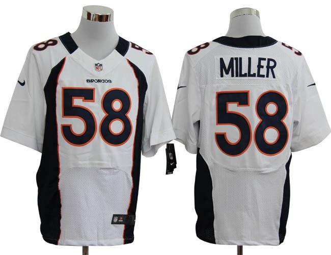 Nike Broncos 58 Von Miller White Big Size Elite Jersey