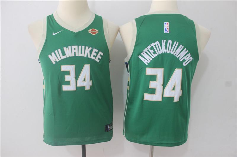 Bucks 34 Giannis Antetokounmpo Green Youth Nike Swingman Jersey