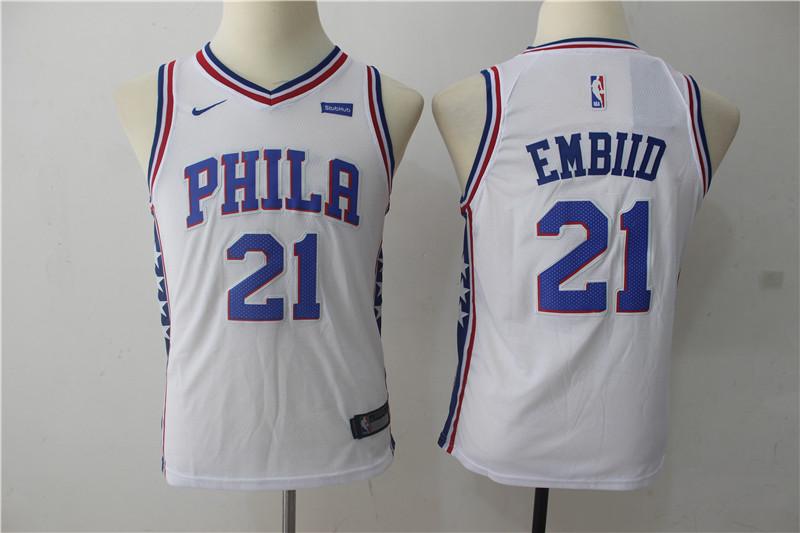 76ers 21 Joel Embiid White Youth Nike Swingman Jersey