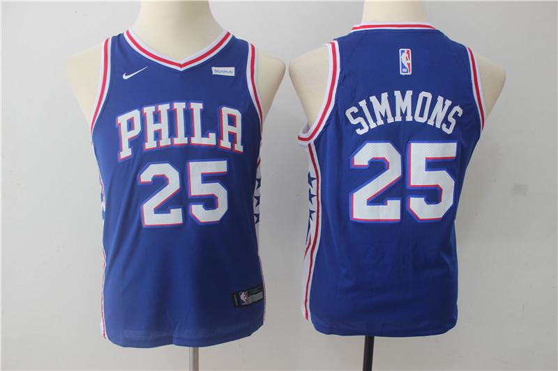 76ers 25 Ben Simmons Blue Youth Nike Swingman Jersey
