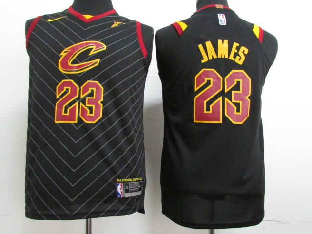 Cavaliers 23 LeBron James Black Youth Nike Authentic Jersey