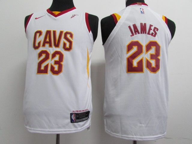 Cavaliers 23 LeBron James White Youth Nike Authentic Jersey