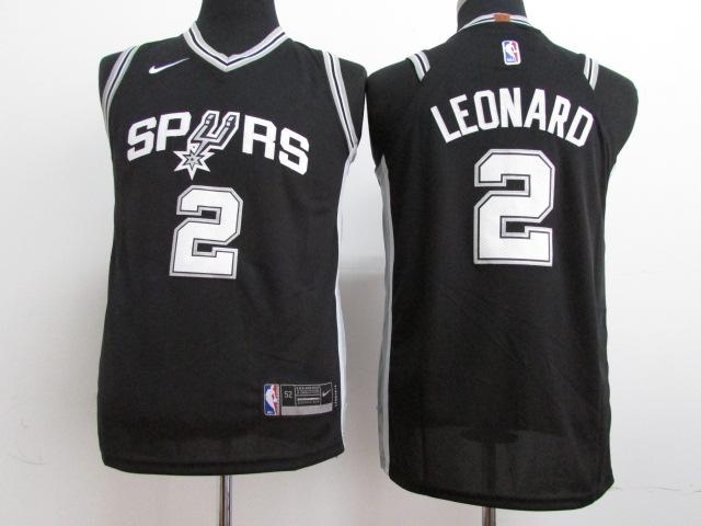 Spurs 2 Kawhi Leonard Black Youth Nike Authentic Jersey