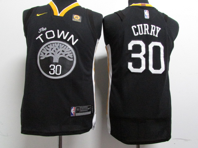 Warriors 30 Stephen Curry Black Youth Nike Authentic Jersey