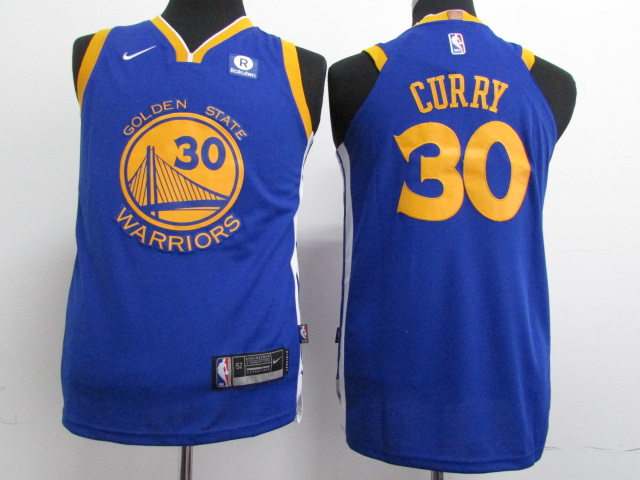 Warriors 30 Stephen Curry Blue Youth Nike Authentic Jersey