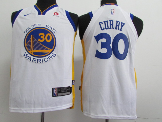 Warriors 30 Stephen Curry White Youth Nike Authentic Jersey