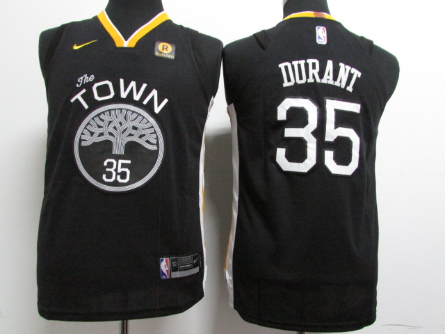 Warriors 35 Kevin Durant Black Youth Nike Authentic Jersey