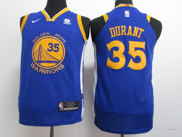 Warriors 35 Kevin Durant Blue Youth Nike Authentic Jersey