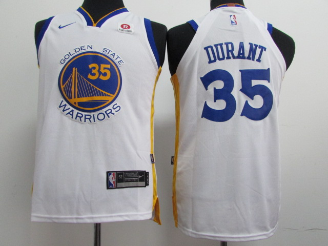 Warriors 35 Kevin Durant White Youth Nike Authentic Jersey
