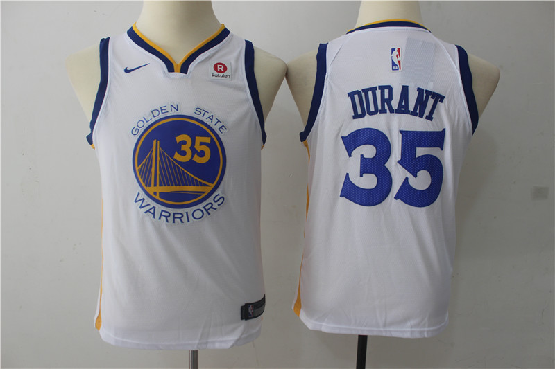 Warriors 35 Kevin Durant White Youth Nike Swingman Jersey