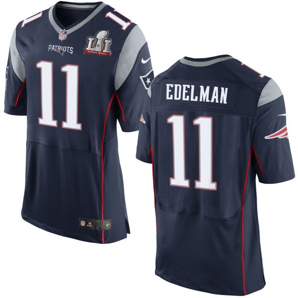 Nike Patriots 11 Julian Edelman Navy 2017 Super Bowl LI Elite Jersey