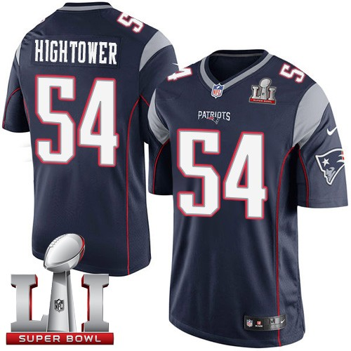 Nike Patriots 54 Dont'a Hightower Navy Youth 2017 Super Bowl LI Game Jersey