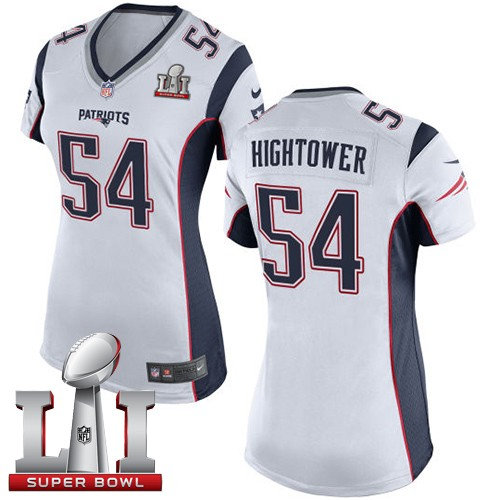 Nike Patriots 54 Dont'a Hightower White Women 2017 Super Bowl LI Game Jersey